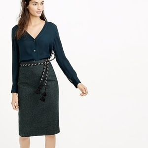 J. CREW Donegal Wool Tweed Pencil Skirt Gray - 2P